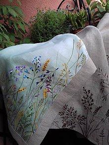 """Úžitkový textil - Ľanová, ručne maľovaná utierka, obrus """" Kvety v ráme """" - 12055989_"""