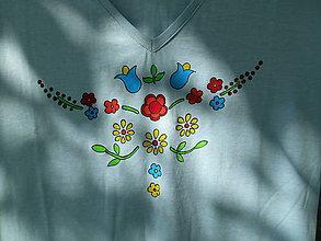 Tričká - letné kvietky-tričko-maľované - 12057372_