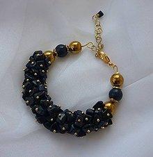 Sady šperkov - Náušnice s náramkom - tmavomodrý živec - 12057384_