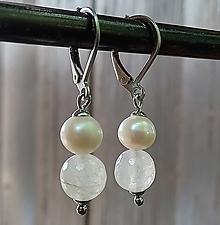 Náušnice - Visiace náušnice pastelový jadeit + riečne perly 1. - 12055819_