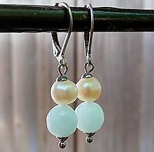 Náušnice - Visiace náušnice pastelový jadeit + riecne perly 3. - 12055875_