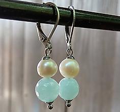 Náušnice - Visiace náušnice pastelový jadeit + riecne perly 4. - 12055898_