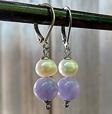 Náušnice - Visiace náušnice pastelový jadeit + riečne perly 5. - 12055902_
