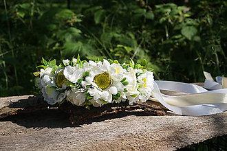 Ozdoby do vlasov - Biela svadobná parta - 12057104_