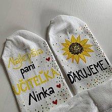 Obuv - Maľované ponožky pre naj PANI UČITEĽKU (so slnečnicou) - 12056305_