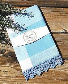Úžitkový textil - Utierka s háčkovanou krajkou, svetlomodrá - 12056506_