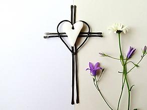 Dekorácie - Tepaný krížik 16 cm - 12056582_