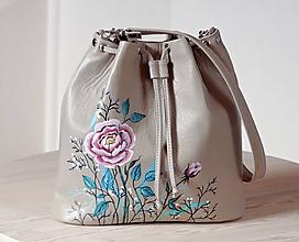 """Kabelky - OLIVIA """"Flowers"""" 35x29 malá kožená kabelka s maľbou - 12056985_"""