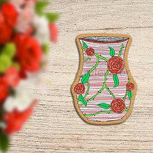Dekorácie - Váza - potlač na koláč - ružičky - 12056823_