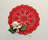 Úžitkový textil - Háčkovaná dečka Červená - 12058126_