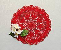 Úžitkový textil - Háčkovaná dečka Červená - 12058130_