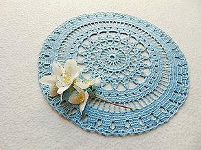 Úžitkový textil - Modrastá háčkovaná dečka - 12058172_