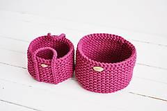 Košíky - Duo pletené košíky - pink - 12058464_