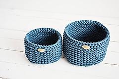Košíky - Duo pletené košíky - petrolejová - 12058544_