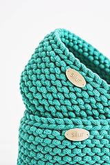 Košíky - Duo pletené košíky - smaragdová (Duo - malý a veľký) - 12058570_