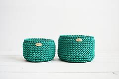 Košíky - Duo pletené košíky - smaragdová (Duo - malý a veľký) - 12058571_