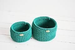 Košíky - Duo pletené košíky - smaragdová (Duo - malý a veľký) - 12058572_