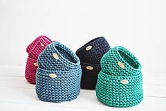 Košíky - Duo pletené košíky - smaragdová (Duo - malý a veľký) - 12058573_