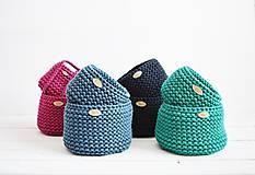 Košíky - Duo pletené košíky - smaragdová (Duo - malý a veľký) - 12058574_