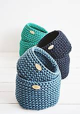 Košíky - Duo pletené košíky - smaragdová (Duo - malý a veľký) - 12058575_