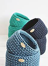 Košíky - Duo pletené košíky - smaragdová (Duo - malý a veľký) - 12058576_