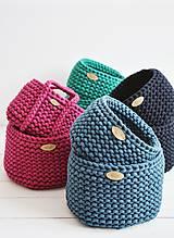 Košíky - Duo pletené košíky - smaragdová (Duo - malý a veľký) - 12058577_