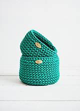 Košíky - Duo pletené košíky - smaragdová (Duo - malý a veľký) - 12058580_