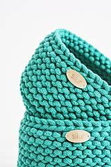 Košíky - Duo pletené košíky - smaragdová (Duo - malý a veľký) - 12058581_