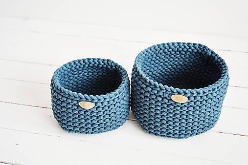 Duo pletené košíky - petrolejová