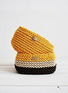 Košíky - Duo pletené košíky - žltooranžový/hnedý - 12058620_