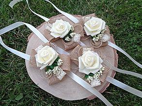 Náramky - Kvetinový náramok pre družičku vintage - juta romantik - 12057578_