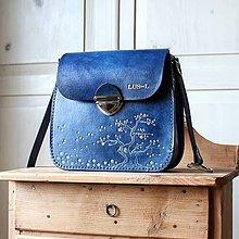 Kabelky - Kožená kabelka *modrá sakura* - 12057452_