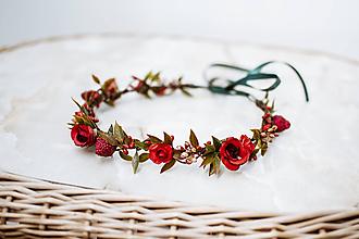 Ozdoby do vlasov - Jemný červený kvetinový venček - 12057414_