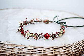 Ozdoby do vlasov - Jemný červený kvetinový venček - 12057418_
