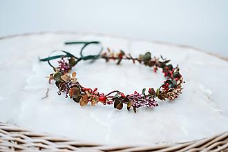 Ozdoby do vlasov - Jemný červený kvetinový venček - 12057424_