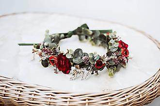 Ozdoby do vlasov - Červený kvetinový venček s eukalyptom - 12057427_