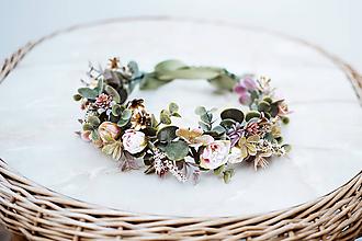 Ozdoby do vlasov - Ružový kvetinový venček s eukalyptom - 12057429_
