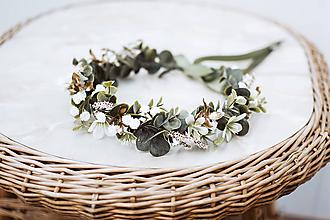Ozdoby do vlasov - Greenery kvetinový venček s eukalyptom - 12057433_