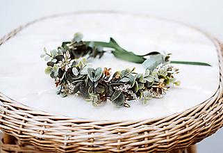 Ozdoby do vlasov - Greenery kvetinový venček s eukalyptom - 12057435_
