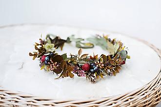 Ozdoby do vlasov - Lesný kvetinový venček s jahodami - 12057437_