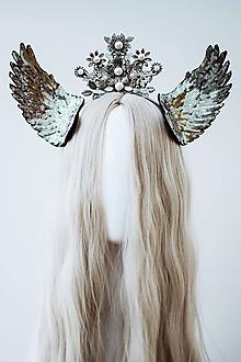 Ozdoby do vlasov - Strieborná anjelská koruna s krídlami - 12060168_