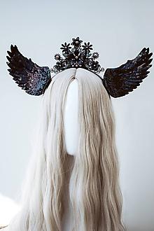 Ozdoby do vlasov - Čierna anjelská koruna s krídlami - 12060182_