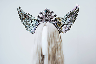 Ozdoby do vlasov - Strieborná anjelská koruna s krídlami - 12060195_