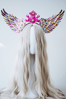 Ozdoby do vlasov - Dúhová anjelská koruna s krídlami - 12060202_