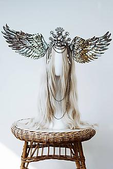 Ozdoby do vlasov - Strieborná anjelská koruna s krídlami - 12060206_