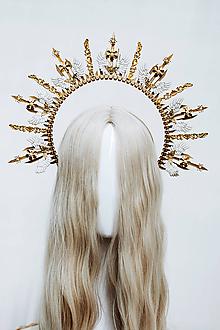 Ozdoby do vlasov - Zlatá Halo crown s bielymi krídlami - 12060237_