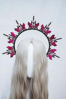 Ozdoby do vlasov - Čierna Halo crown s ružovými krídlami - 12060244_