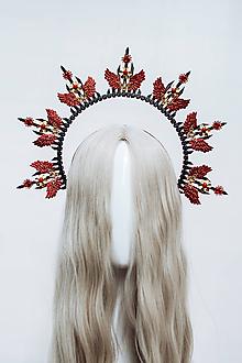 Ozdoby do vlasov - Čierna Halo crown s červenými krídlami - 12060247_