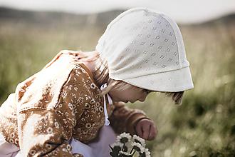 Detské čiapky - Vzdušný čepček maslový - 12059464_