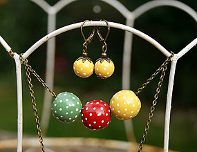Sady šperkov - Tri bodkované guličky + náušničky - 12059883_